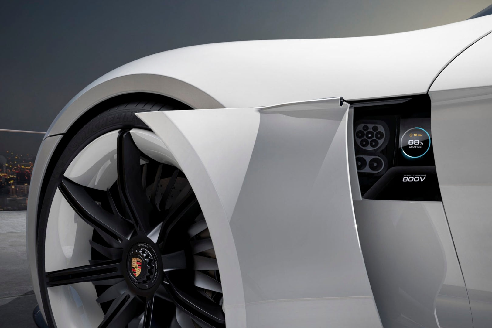 Mission E charging area : in the fender